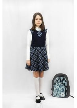 Сарафан Алина серо-голубая клетка 15016  Гулливер