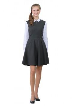 Платье Колледж серый Брошь 15018