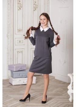 Платье Колледж серый 19005